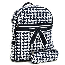New Women Cotton Backpack Houndstooth Bow School Book Bag Rucksack Purse w/ Bag