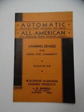 1937 Wisconsin Aluminum Foundry Co. Food Canning Devices Catalog Cookers Sealers