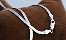 925 Plata de Ley Collar Unisex Plano Culebra Cadena Mujer Hombre 45 50 CM