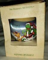 Hallmark Satin Ball Ornament Muppets 1981 Kermit Miss Piggy Jim Henson Sesame St