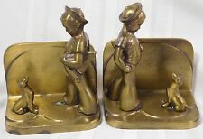 Vtg FrankArt Boy Dog Art Deco Bronze Bookends