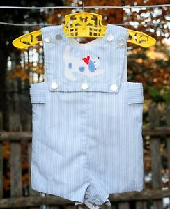 VTG 80's Baby Boys Blue & White Pinstripe Shorts Romper w/ Dog Applique 6 Month