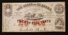 January 1st, 1863 State of Alabama Twenty Five 25c Cent 2nd Series Note