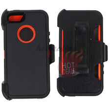 For Apple Iphone 5/5s Black/Orange Defender Case Cover (Clip Fits OtterBox