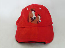 Distressed Red Embroidered Horse Adjustable Hat