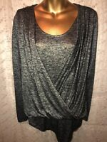 New Directions black silver Shirt Blouse Long Sleeve size Small
