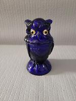 COBALT BLUE Owl Jar Glass Eyes LIDDED Candy BOWL Dish 6.5'' T