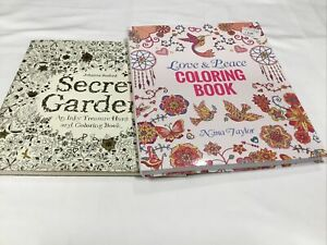 Lot of 2 Adult Coloring Books Love & Peace; Secret Garden