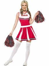 Womens Ladies American High School Cheerleader Fancy Dress Costume + Pom Poms