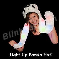 Panda Bear Animal Hat Cap Knit Earmuff Beanie Mittens Scarf * Lights Up!*
