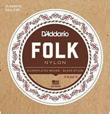 D'addario Ej32 Folk Noir Nylon Ball Fin cordes pour Guitare Classique