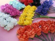 96 Mulberry Paper Rose Flower Bouquet/Wire Stem/scrapbooking H420-Mix Color