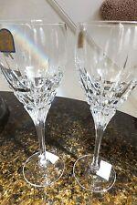 """DaVinci Hand Cut Italian Crystal Carrara Wine Glasses 2Pc Set NEW 7.75"""" Tall"""