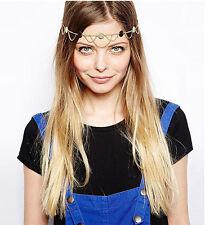 Ladies Sequin Gold Metal Chain Jewelry Wave Tassel Chain Headband Head Pieces
