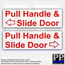 Pull and Slide Door to Open-Set of 2 Red On White Stickers-Hackney Mini Cab,Taxi