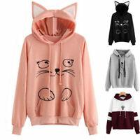 Women Patchwork Hoodie Hood Coat Outfit Sweatshirt Tracksuits Tops Ladies Casual