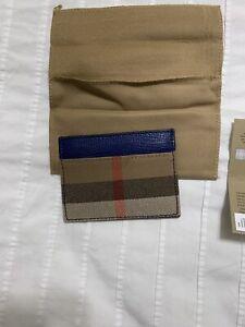 New Auth Burberry Men Unisex Leather Canvas Nova   Plaid Holder Wallet $295