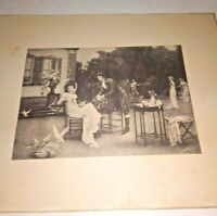 Antique The Proposal Engraving Victorian Lady Gentleman Yard Game Courting Print