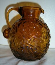 Textured patterned glass Pitcher Enesco Amber Brown Glass Vtg made in Taiwan