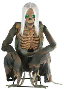 HALLOWEEN LIFESIZE ANIMATED CROUCHING BONES SKULL PROP DECORATION HAUNTED HOUSE