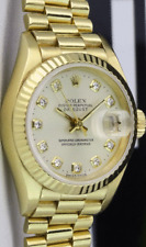 ROLEX Ladies 18kt GOLD PRESIDENT Champagne DIAMOND Box & Papers 69178 SANT BLANC