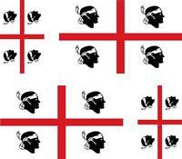 4 x Autocollant sticker voiture moto valise  drapeau sardaigne sarde