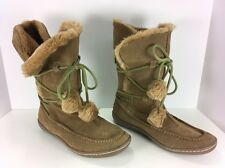 Steve Madden Womens Tan Brown  Iglou Suede Faux fur Moccasin Boots Sz 9