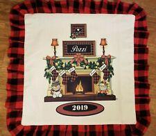 Large 18x18 Buffalo Plaid Pillowcase Black N Red Christmas personalized stocking