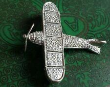 18k White Gold Diamond Plane Airplane Brooch Pin