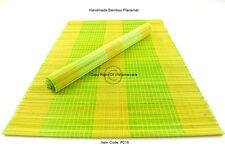 4 Manteles Individuales Hecho a mano de bambú Tabla esteras, Amarillo-Verde Marrón, defecto, P016