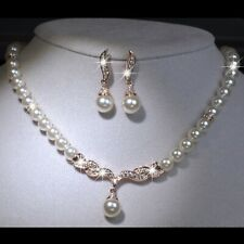 18 GOLD MADE WITH SWAROVSKI CRYSTAL PEARL NECKLACE EARRINGS WEDDING PARTY SET