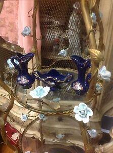 Blue Gold Lot/Set Vase/Pitcher Ceramic