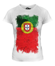 PORTUGAL GRUNGE FLAG LADIES T-SHIRT TOP PORTUGUESE SHIRT FOOTBALL JERSEY GIFT