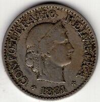 1881 SWITZERLAND 5 RAPPEN  NICE WORLD COIN
