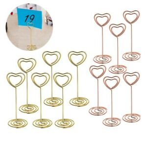 12pcs Golden Heart Shape Photo Holder Stands Table Number Place Card Paper Clips