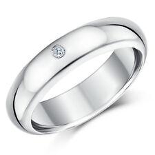 9ct Hollow White Gold Court Diamond Wedding Ring 6mm