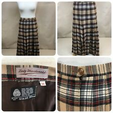Lady MacDonald Scotland Pure Wool Checked Skirt Sz 10 Beige Brown Pleated   Bn3