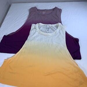 Lot of 2 Women's Athleta Hombre Tank Top Yoga Orange Purple Size XLarge/ Large