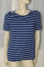 SIZE S JONES NEW YORK BLUE WHITE STRIPED NAUTICAL STRETCH SHORT SLEEVED TOP 🦄