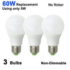 3pcs LED Light Lamp E27 A19 AC/DC 12-24V 5W Globe Bulb Warm White Equivalent 60W