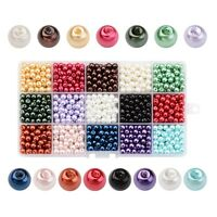 15 Color Glass Pearl Beads Dyed Pearlized Beads Round Hole 1mm Beading Kits