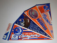 (4) 1980s Denver Broncos Super Bowl XXI XXII pennants lot SB 21 22 John Elway