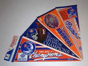 (4) 1980s Denver Broncos Super Bowl XXI XXII pennants lot SB 21 22 John Elway