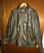 """Eddie Bauer Mens Dark Brown Genuine Leather Jacket Lined Med """"Fund Raiser"""""""