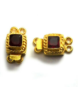1 PC RED GARNET BOX CLASP 2 STRAND 18K GOLD PLATED 809 AS-362