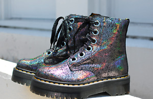 Dr. Martens MOLLY Leather Suede Platform Boots Crackle Gunmetal Great Reviews