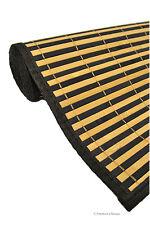 "36"" X 72"" Black & Natural Brown Slats Bamboo Area Rug Floor Carpet Mat w Backing"
