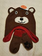 NWT Bear Lined Knit Hat and Mittens Size L 4T - 5T The Children's Place