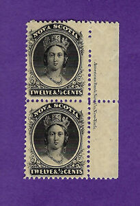 CANADA, Nova Scotia 13, imprint pair, MNH, fresh, clean, VF, Cat Value $110.00 +