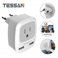 TESSAN 1 Outlet 2 USB Port Travel Plug Adapter for USA to Most of Europe Travel